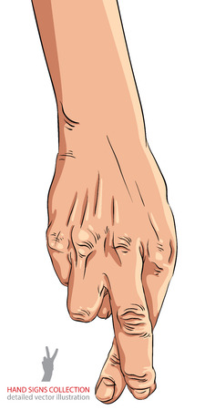 cheater: Cheater hand with crossed fingers, detailed vector illustration.
