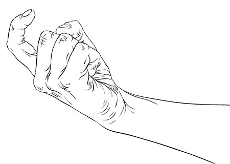 Come on hand sign, detailed black and white lines vector illustration, hand drawn. Vector