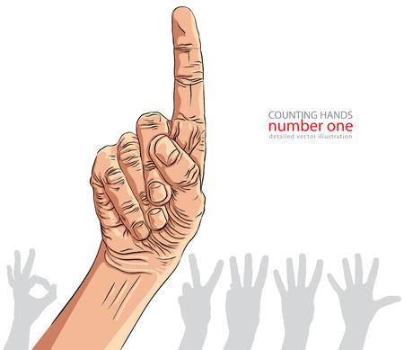 Numbers hand signs set, number one, detailed vector illustration. Vector