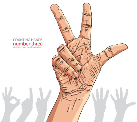 hand signs: Numbers hand signs set, number three, detailed vector illustration.