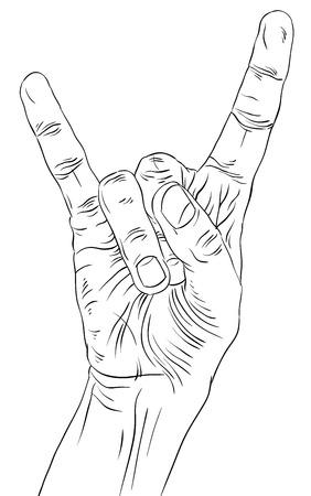 heavy metal music: Roccia a mano segno, rock n roll, hard rock, heavy metal, musica, dettagliato le linee in bianco e nero illustrazione vettoriale, disegnata a mano. Vettoriali