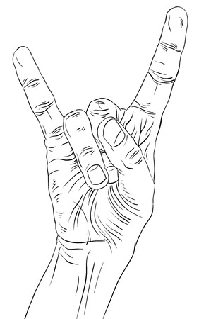 heavy metal music: Rock on hand sign, rock n roll, hard rock, heavy metal, music, detailed black and white lines vector illustration, hand drawn.