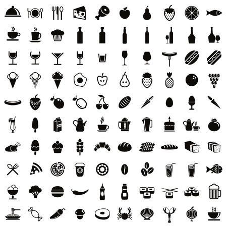Установленные, черные и сбора белые векторы 100 продуктов питания и напитков иконы. Иллюстрация