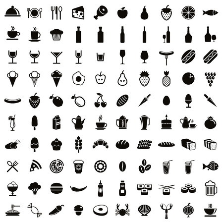 100 food and drink icons set, black and white vectors collection.