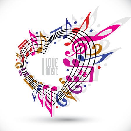 Io amo la musica modello in rosso, rosa e viola colori, ruotati in 3d, cuore fatto con le note musicali e chiave di