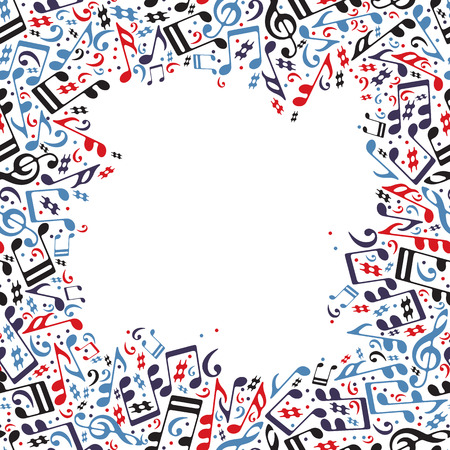 Music frame made with notes, vector musical background. Vector