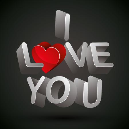 curare teneramente: Ti amo frase fatta con lettere 3d e cuore rosso su sfondo nero, vettore.