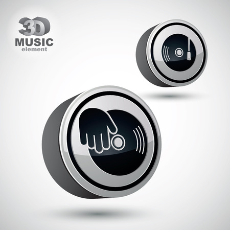 Vinyl with DJ hand vector icon isolated, 3d vector design element, contain 2 versions.