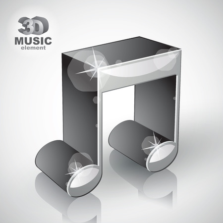 sonata: Funky metallic musical note 3d modern style icon isolated, 3d music element Illustration