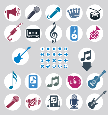 Music icons set, simple single color vector icons set for music and sound. Vector