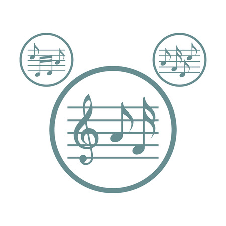 Music sheets with g key and notes vector icons set isolated