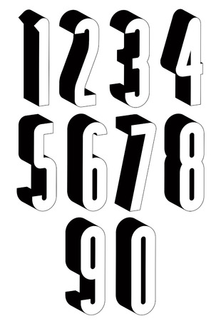 numerals: 3d black and white tall numbers, stylish simple shaped numerals for design.