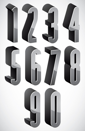 condensed: 3d tall condensed numbers set  Illustration