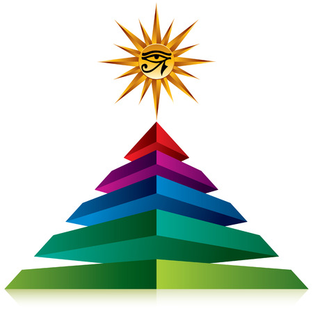 pictogramme: Pyramid with eye of god at the top isolated on white background, vector icon. Illustration