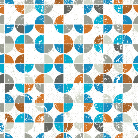 Seamless mosaic tiles pattern in retro style, contain seamless grunge textures.