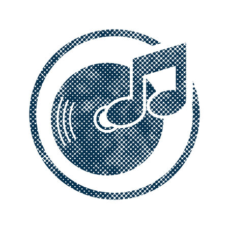moire: Vinyl icon with halftone dots print texture. Macro newspaper style vector symbol. Illustration
