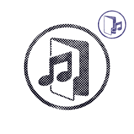 Music folder icon with halftone dots print texture. Macro newspaper style vector symbol. 2 versions set. Vector
