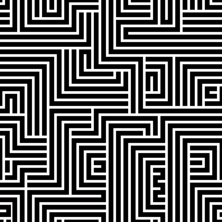 Maze seamless pattern, black and white vector background. Vector