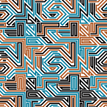 regular: Abstract circuit board seamless pattern, geometric lined vector background.