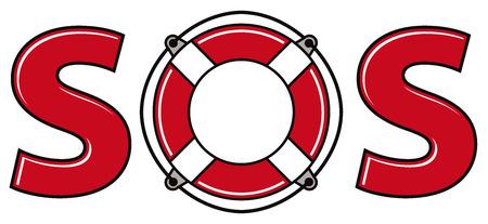 sos: SOS signal with life ring, vector. Illustration