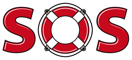 SOS signal with life ring, vector. Illustration