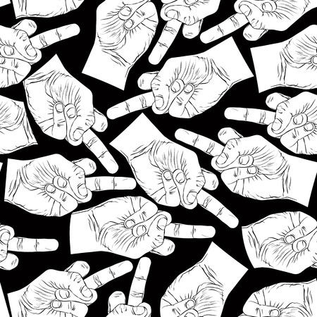 obscene: Middle finger hands seamless pattern, black and white vector background for wallpaper, textile or other design.