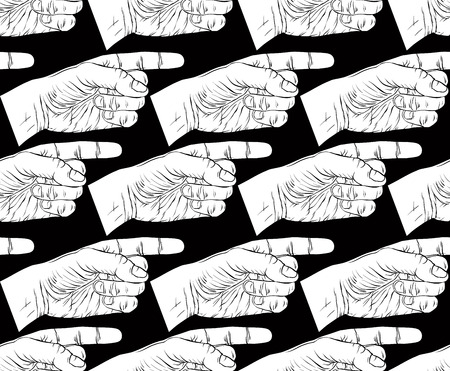 Finger pointing hands seamless pattern, black and white vector background for wallpapers, textile or other designs. Vector