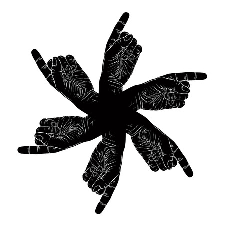 Six pointing hands abstract symbol, black and white vector special emblem with human hands. Vector