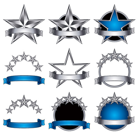 5 stars classic emblems set. Metallic ribbons and stars symbols. Metallic and blue royal style. Vector