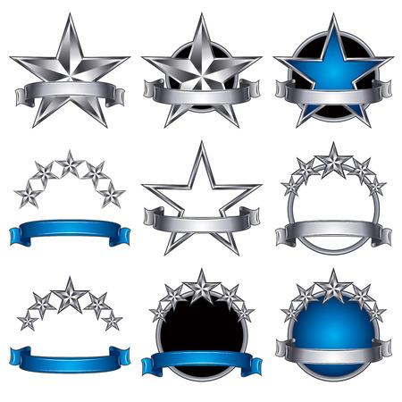 5 stars classic emblems set. Metallic ribbons and stars symbols. Metallic and blue royal style. Vector