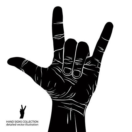 Roca en muestra de la mano, rock n roll, hard rock, heavy metal, música, ilustración vectorial detallada en blanco y negro. Foto de archivo - 30264158
