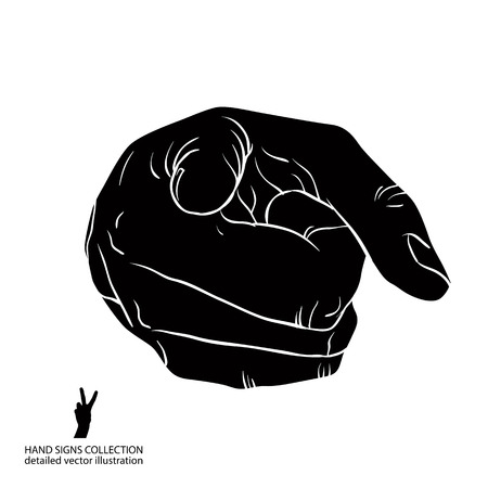 Finger pointing hand showing directly at observer, detailed black and white vector illustration, hand sign. Иллюстрация