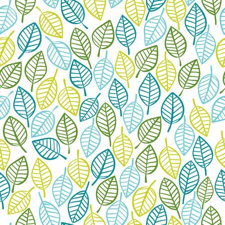 regular: Beautiful spring leaves seamless pattern, hand drawn vector background. Illustration