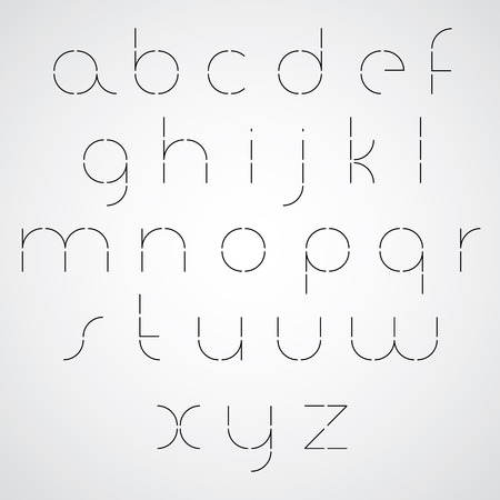verbs: Digital alphabet, modern style vector font. Black and white. Ultra light version. Illustration