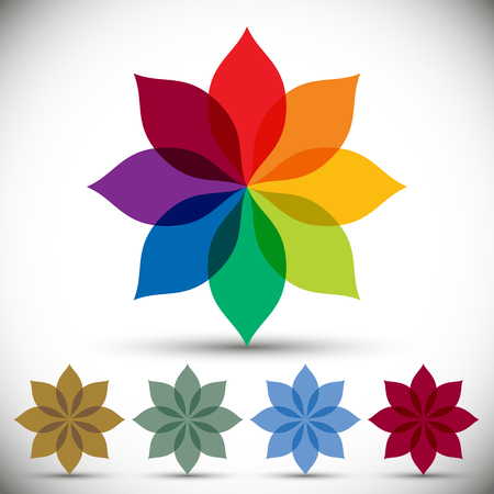photons: Color spectrum flower, rainbow circle vector icon.