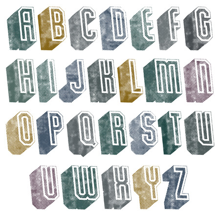 text cool: 3d geometric font with halftone dots texture, old letters alphabet.