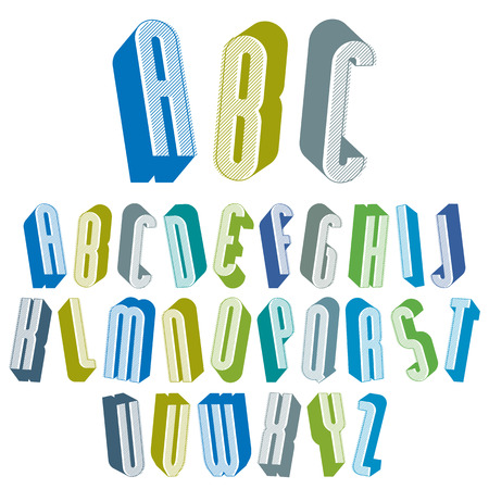 3d tall condensed font for headlines with good style, simple shaped letters alphabet Stock Vector - 30264334