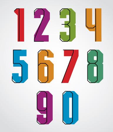 typeface: Retro numbers set, bold condensed numerals typeface.