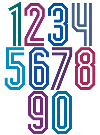 Double line geometric numbers, retro style numerals made with straight lines only.