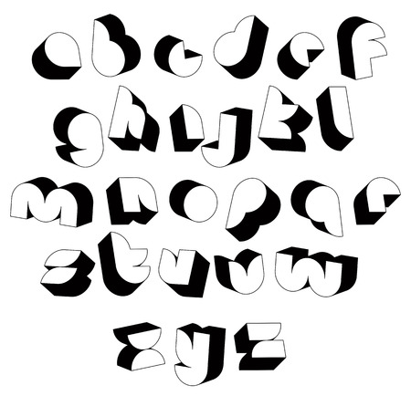 verbs: Futuristic black and white 3d font, single color simple shaped letters alphabet  Illustration