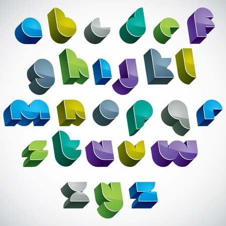 sans: 3d colorful letters futuristic alphabet, dimensional geometric font in blue gray and green colors