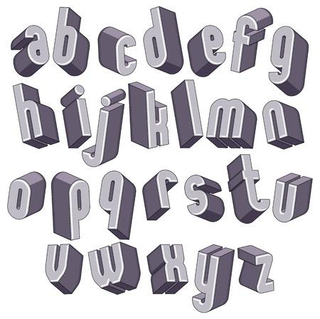 sans: 3d geometric bold font, monochrome dimensional alphabet, heavy letters for design.