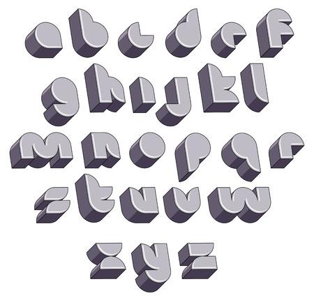 3d futuristic round font, monochrome dimensional alphabet, geometric letters for design. Stock Vector - 30264385