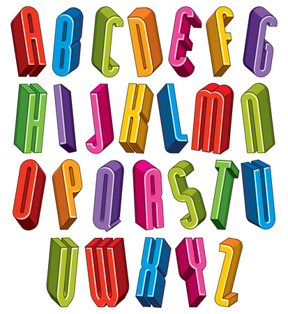 verbs: 3d font, vector tall thin letters, geometric dimensional alphabet made with round shapes  Illustration