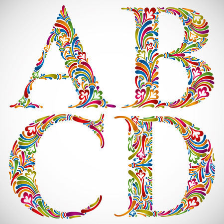 verbs: Colorful floral font, ornate alphabet letters A B C D, vector.