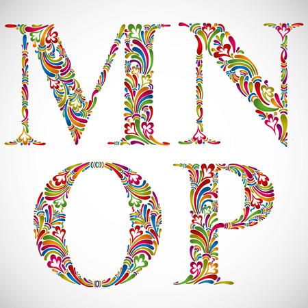 Colorful floral font, ornate alphabet letters M N O P, vector.