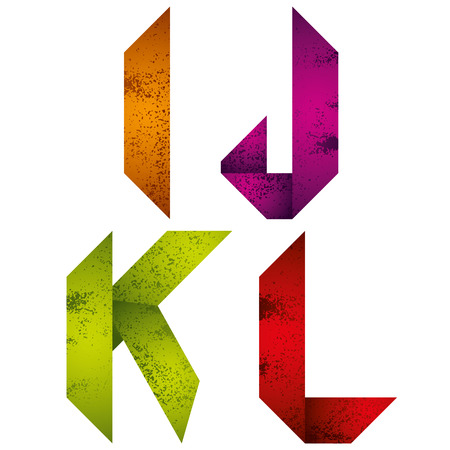 letter k: Geometric origami style font with old grunge texture, alphabet letters I J K L vector.