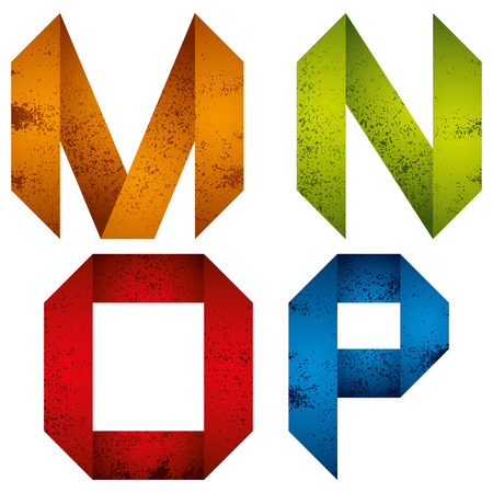 old letter: Geometric origami style font with old grunge texture, alphabet letters M N O P vector.