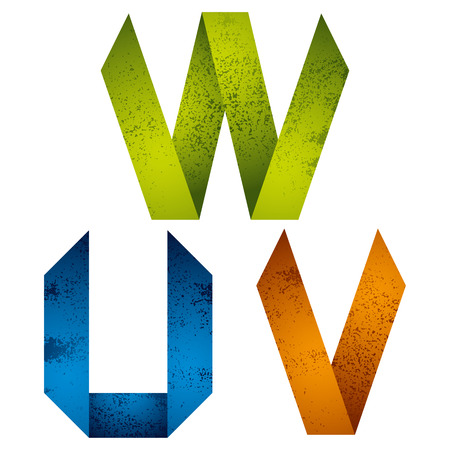 letter w: Geometric origami style font with old grunge texture, alphabet letters U V W vector. Illustration