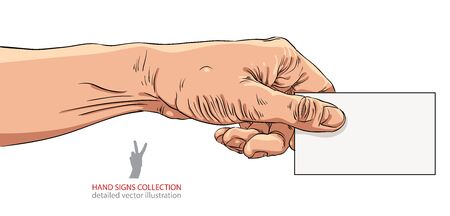 advertize: Hand giving business card, detailed vector illustration.
